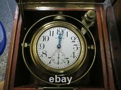 Waltham 8 Day Ships Watch Marine Chronometer Wwi In Orig Wood Double Box