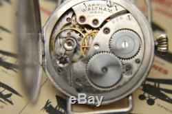 Waltham Sterling Silver WW1 Trench Watch w detatchable shrapnel guard. C1918 WoW
