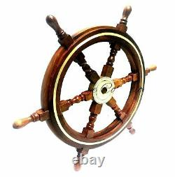 Wooden 24Nautical Ship Steering Wheel Pirate Decor Wood Brass Fishing Wall Boat