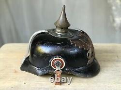 World War 1 German Pickelhaube Leather Infantry Helmet Battlefield Trophy