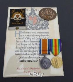 Ww1 Aif Australian 27th Btn Killed In Action Medal Group, Mothers Ribbon Etc