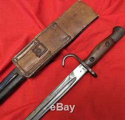 Ww1 Australian Lithgow 1907 Pattern Hooked Quillon Bayonet Marked Leather Frog