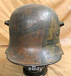 Ww1 German M16 Camouflage Steel Helmet With White Leather 3 Pad Liner. 100%