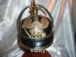 Ww1 German Spike Helmet Prussian Pickelhaube, Nco Poss Landsstrum, 1887-1888