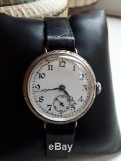 Ww1 Military Francois Borgel Solid Silver Trench Watch Running 4 Tlc Hinge Case