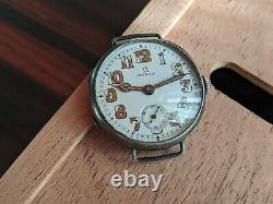 Ww1 OMEGA Military OFFICER Trench Mens SILVER watch