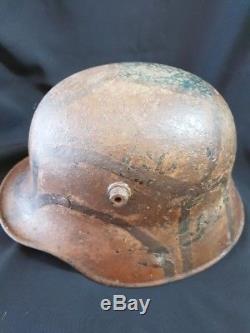 Ww1 Original German M16 Helmet Brown Turtle Camouflage Paint