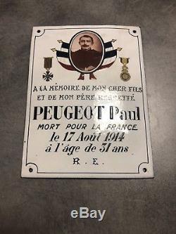 Ww1 Plaque Emaillee Bombee A La Memoire Dun Soldat Mort Pour La France