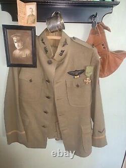 Ww1 Us Pilot 2nd Lieut. Tunic, Pants, Helmet, Bullion Patch, Photos, Medals, Cup