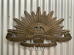 Ww1 Ww2 Australian Rising Sun Anzac Huge Distressed Embossed Metal Sign