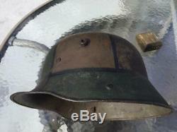 Ww1 Wwi German Camo Steel Helmet'w66', Complete All Leather Line, 100% Original