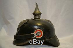 Wwi Imperial German M16 Prussian Pickelhaube Spike Helmet With Rare Cover
