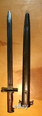 Wwi Us Dated 1918 Model 1905 Bayonet Sa Springfield Armory & Scabbard