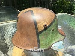Wwi Ww1 German Camo Helmet, Rare Model M1918, Et66, 100% Original