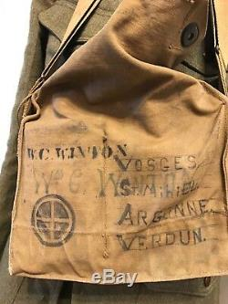Wwi us uniform 35th Division Grouping, Painted Helmet, Gas Mask And Bag MG PT